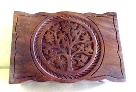 "Hand Carved Tree of Life Wooden Trinket Box 4x6"" W - $24.95"