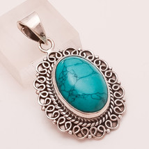Natural Thai Turquoise Gemstone Sterling Silver Pendant Vintage Fine Jewelry New - $20.46