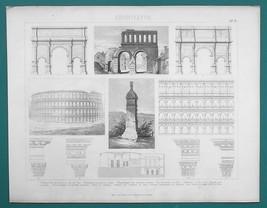 ARCHITECTURE Roman Temples Arches Severus Jupiter Colosseum -1870s Antiq... - $16.20