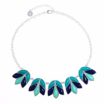 Liz Claiborne Women's Blue Collar Necklace Silver Tone 17 Inch NEW - $24.74