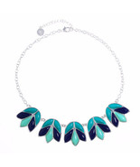 Liz Claiborne Women's Blue Collar Necklace Silver Tone 17 Inch NEW - $24.74