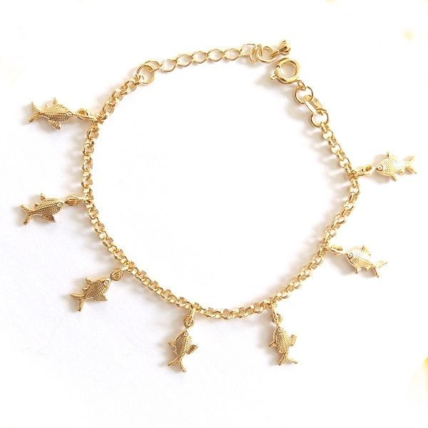Primary image for GOLD PLATED HIGH QUALITY NICKLE FREE CHARM BRACELET FISH GOLDFISH ADJUSTABLE