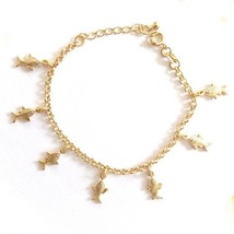 GOLD PLATED HIGH QUALITY NICKLE FREE CHARM BRACELET FISH GOLDFISH ADJUST... - $14.49