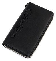 NEW CALVIN KLEIN CK MEN'S LEATHER YEN WALLET ID ORGANIZER ZIP AROUND BLACK 79474