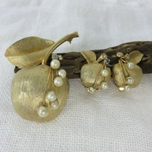 Gold Textured Apple Brooch Pin Clip Earrings Matching Pearls Crystals Vintage - $49.45