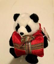 Beary Happy Holidays Black White Vintage Panda Bear Christmas Presents P... - $49.49