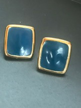 Estate Monet Signed Blue Enamel & Goldtone Nearly Square Rectangle Post Earrings - $13.99