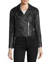 Stylish Asymmetrical Notched Collar Women Genuine Lambskin Leather biker... - $149.00
