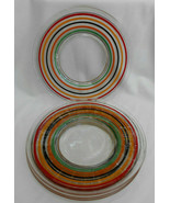 "4 ANCHOR HOCKING BANDED RINGS COLORED GLASS SALAD PLATE 8"" DEPRESSION PR... - $54.44"