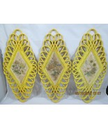 Vintage 1975 Burwood #1350 Yellow Diamond Shape Floral Wall Plaques (set... - $10.00