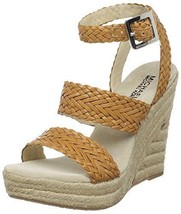 Michael Kors Juniper New Womens Peanut Wedge Leather Espadrille Sandals ... - $85.14