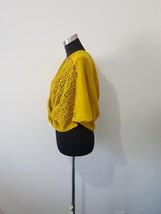 Twisted Crochet Infinity Scarf Shoulder Wrap Ruana Mustard Yellow One Size  image 2