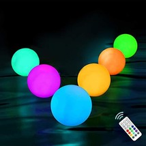 Chakev Floating Pool Light 6 Pack 16 Colors Pond Ball Lights with Remote Cont... - $35.16