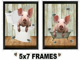 5x7 Bathroom Pictures Pig in Tub & Toilet with Flies Bathtub Wall Hangings - $8.99+