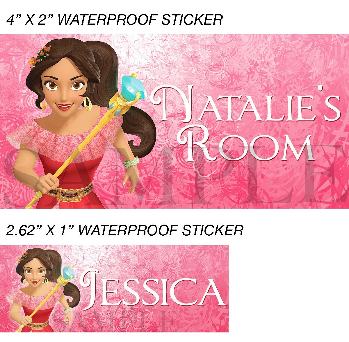 Princess Elena Stickers, Personalized Elena of Avalor Labels, Waterproof for Bac