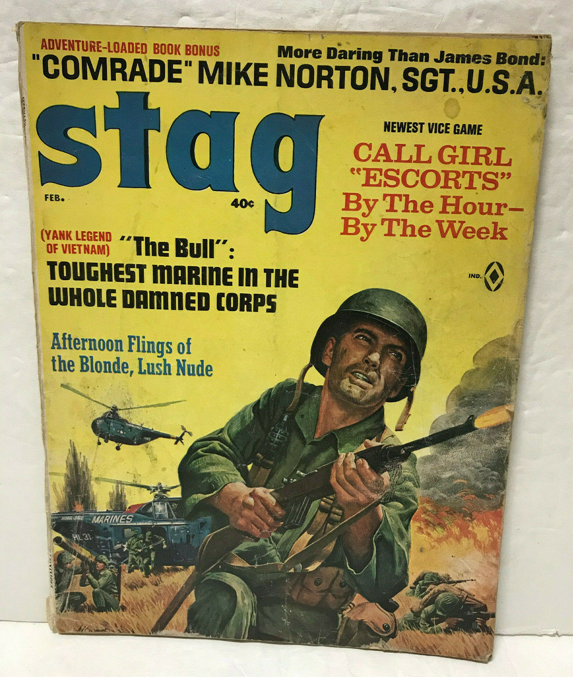 Primary image for Stag Magazine February 1966 Adventure Pinup Mort Kunstler Cover US Marines USMC