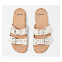 Earth Perforated Leather Slide Sandals- Sand Antigua White 10 W - $63.04