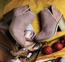Perforated Women Ankle Pink Booties Boutique - $38.61