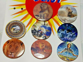 8 Vintage Stick Pin Back Buttons - Squirrel, Fox, Eagle, Harley Davidson Cycle  image 3