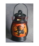Ceramic Witch on broom pumpkin Tea Candle Lantern NEW - $6.99