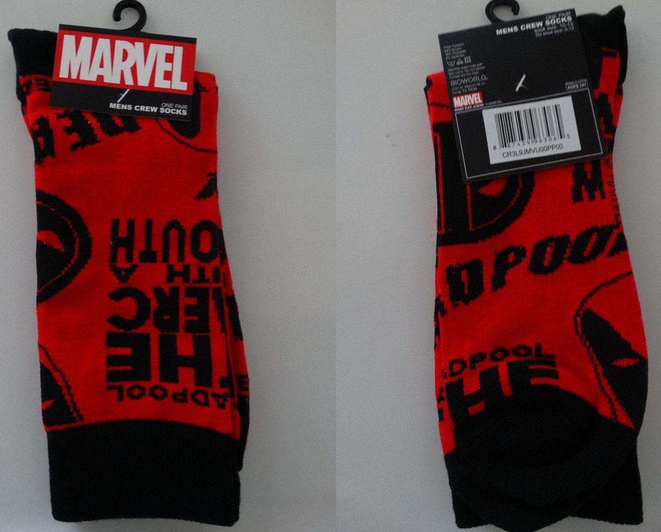 Deadpool, Superman Marvel Dc Comics Crew Socks Your Choice