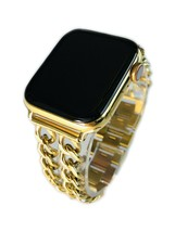 24K Gold Plated 44MM Apple Watch SERIES 4 Gold Links Band CUSTOM Free SB... - $1,110.64