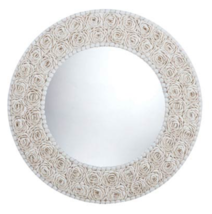 "32"" Round Mosaic Shell Coastal Modern Beach Farmhouse Elegant Wall Mirror - $315.81"