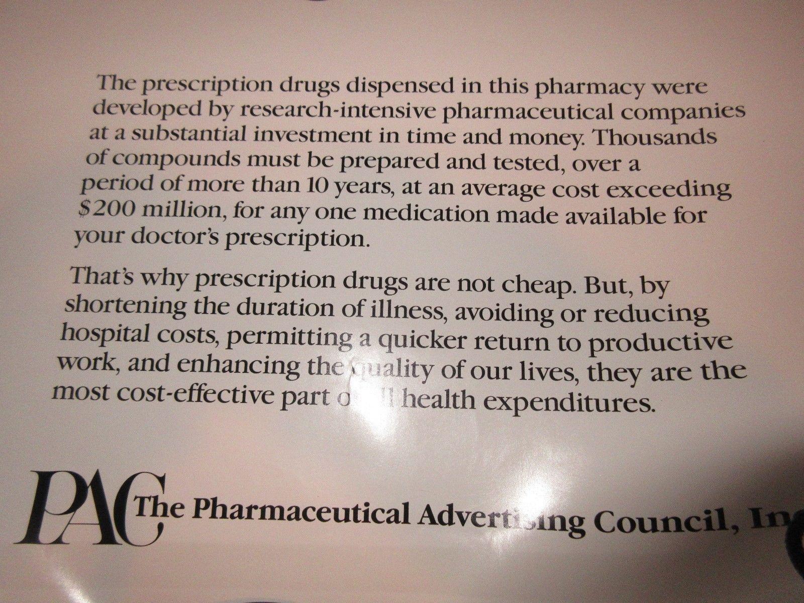 "Rx , Pharmacy . Poster , 16"" X 22"" , Prescription Drug Costs , 1980s , Rare image 6"
