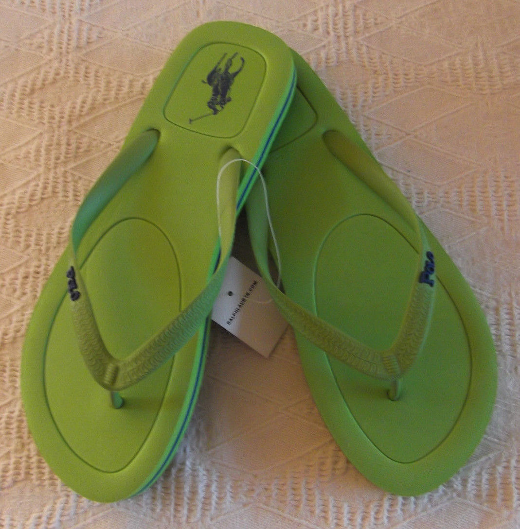 NEW POLO Ralph Lauren Halesowen rubber thong Green + navy Logo flip flops 11D