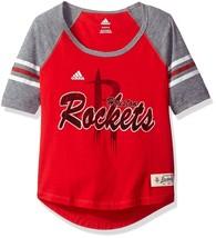 NBA Girls 7-16 Houston Rockets Hi-Lo Raglan Tee, M(10-12), Red - $12.99