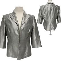 Alex Evenings Women's Silver Open Blazer Jacket 3/4 sleeve Sz 14 - $15.84