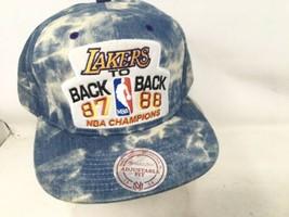 Vtg Los Angeles Lakers 87 88 Back to Back NBA Champion Hat Snapback Denim READ - $80.75