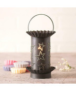 Rustic Primitive Mini Wax Warmer With Punched Star Tin Shade In Kettle B... - $41.68