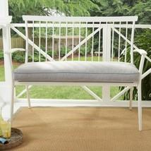 Metal Patio Bench Porch Deck Outdoor Furniture 2 Person Loveseat Gray Cu... - $149.59