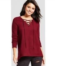 NWT Women's (Juniors') Lace-Up Oversize Sweater  Xhilaration Plum (Purpl... - $6.92