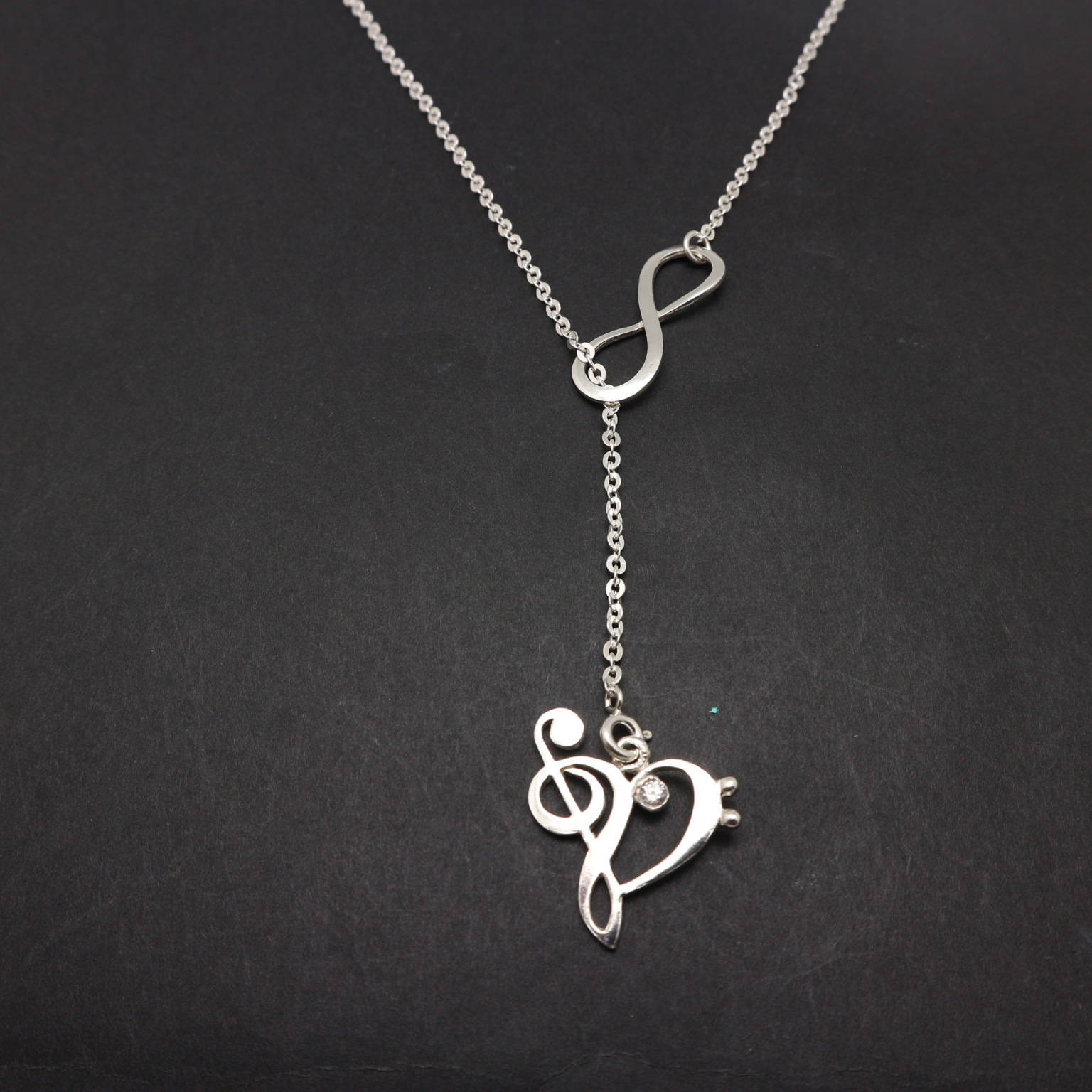 Handmade 925 Sterling Silver Double Infinity Music Note Lariat Y Necklace