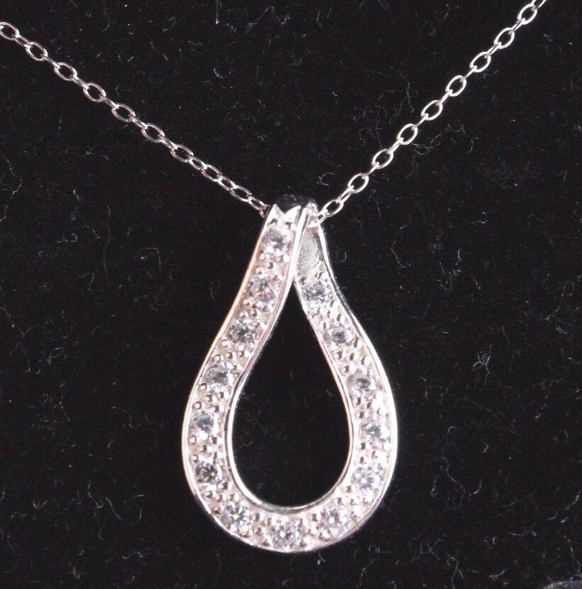 """18"""" Sterling Silver Twist Oval Open with Cubic Zirconia Trimmed Pendant Necklace"""