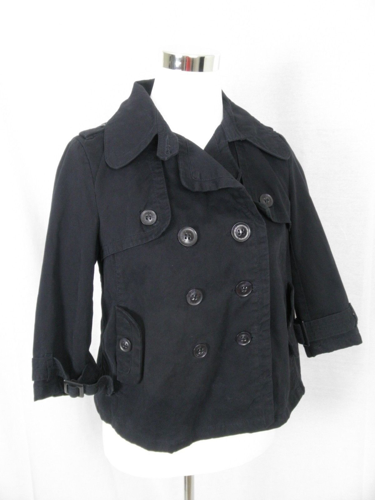 MNG Sportswear by Mango Navy Blue Jacket 3/4 Sleeve Cropped Pea Coat M