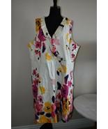 Lane Bryant White Pink Floral Summer Cotton Spandex Size 28 Women's Dress - $27.62