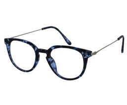 EBE Reading Glasses Mens Womens Round Horned Rim Blue Tortoise Acetate - $23.21+
