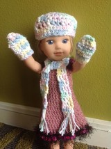 Wellie Wishers mittens scarf/hat beanie American Girl 14 doll clothes ou... - $8.90