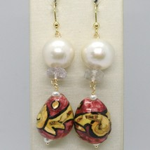 Yellow Gold Earrings 750 18K Pearls Fw Ceramics Hand Painted by Made in Italy image 1