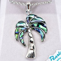 Storrs Wild Pearle Abalone Shell Palm Tree Pendant w/ Silver Tone Necklace image 2