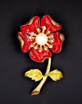 Vintage 1961 Ledo Red Faux Pearl Flower Brooch Pin Designer Signed Restored - $19.79