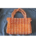 Vintage / Retro Orange Plastic Beaded Purse with Attached Mechanical Pencil - $20.00