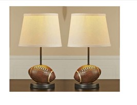 "Set of  2 - 15.5"" Football Design  Mini Table Lamps with Beige Shade"