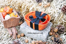 CRATE & BARREL NESTING PUMPKIN BOWLS (2) -NWT- CARVE OUT A COOL PLACE FO... - $29.95