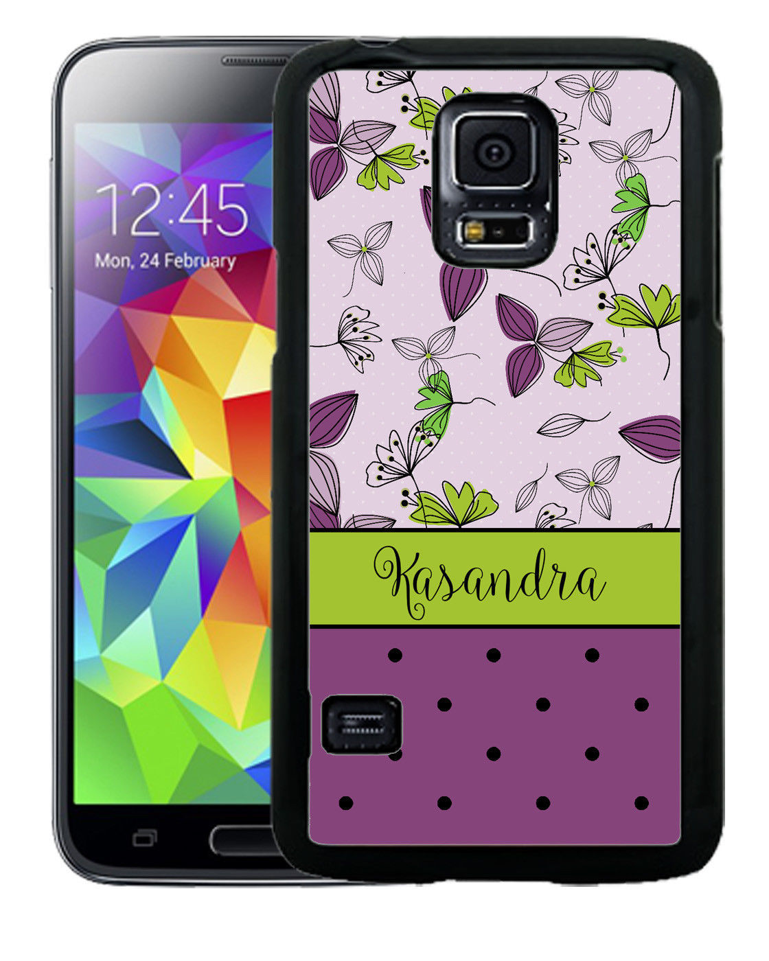 PERSONALIZED RUBBER CASE FOR SAMSUNG S9 S8 S7 S6 S5 PLUS PURPLE LIME FLOWERS