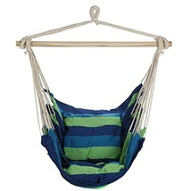 Arad Blue & Green Hanging Rope Hammock Chair Swing Seat for Any Indoor or - $51.76