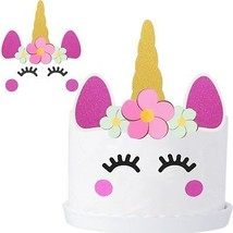 Mtlee 2 Set Handmade Unicorn Cake Topper Cupcake Toppers Birthday Cake - $21.59